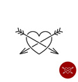 Heart with two arrows black outline style logo vector image