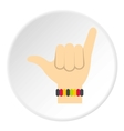Surfer shaka hand sign icon flat style vector image