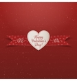 Valentines Day paper Heart Label with Ribbon vector image