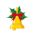 Christmas bell icon in flat style vector image