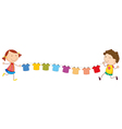 A girl and a boy holding the string with hanging vector image vector image