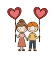 colorful caricature of boy and girl with balloon vector image