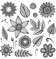White and black doodle floral set vector image