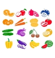 Fruits and vegetables set icons vector image