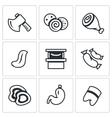 Set of Butcher Shop Icons Ax Sausage Ham vector image