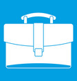 leather briefcase icon white vector image