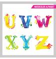 Watercolor Alphabet - ABC Painted Letters U-Z vector image