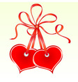 Two tied heart shaped tags vector image vector image
