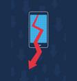 smartphone graph arrow decrease business vector image