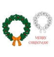 Christmas wreath with holly and berries vector image