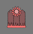 flat shading style icon fence and sunflowers vector image
