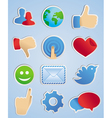 stickers with social media icons in scrapbooking s vector image