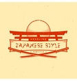 vintage japan style sign with katanas vector image