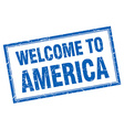 America blue square grunge welcome isolated stamp vector image