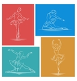 Ballerina hand drawn set vector image