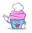 Chef cupcake character cartoon style vector image