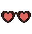female glasses with shaped heart vector image