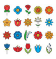 flower icons set modern thin contour line vector image
