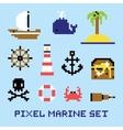 Pixel art marine isolated set vector image