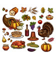 thanksgiving day isolated icons set vector image