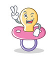 two finger baby pacifier character cartoon vector image