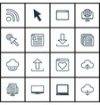 set of 16 web icons includes send data wifi vector image