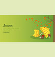 autumn time banner horizontal man cartoon style vector image