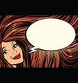 joyful woman with long hair and a comic bubble vector image