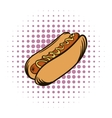 Hot dog with mustard comics icon vector image