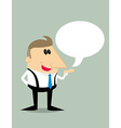 Cartoon businessman with speech bubble vector image