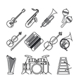 Musical instruments thin line icons vector image