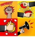 Set of Human hands in pop art style Like sign vector image