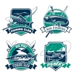Fishing club icons and emblems set vector image