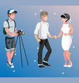 newlyweds photographing  bride and groom vector image