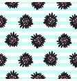 striped black bold florals seamless pattern vector image vector image