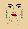 a girl in jewels silver earrings with green vector image