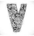 Doodles font from ornamental flowers - letter V vector image