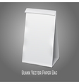 Blank white realistic paper packaging bag with vector image