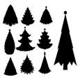 christmas tree black silhouette star xmas vector image