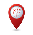 Flip flops icon on map pointer vector image