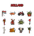 netherland flat icons design vector image