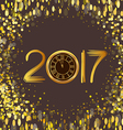 2017 Merry Christmas and Happy New Year glowing vector image