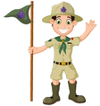 Cute boy scout cartoon holding pole yelling vector image