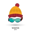 red and yellow knitted cap glasses winter sport vector image