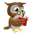 cartoon owl reading a book vector image vector image