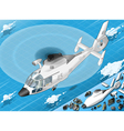 Isometric White Helicopter in Flight in Front View vector image vector image