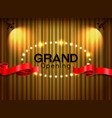 grand opening cutting red ribbon on curtain with vector image
