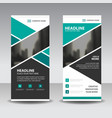 green abtract business roll up banner flat design vector image