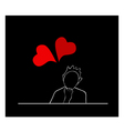 Happy Woman Sitting with Lovely Red Hearts vector image