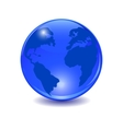 Blue earth Stylized glossy ball with shadow vector image